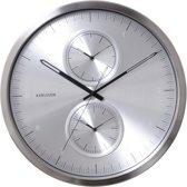 Karlsson Multiple Time - Klok - Rond - Aluminium - Ø50 cm - Grijs