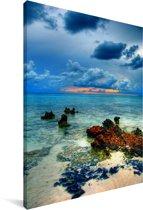 Foto vanaf de Grand Cayman met uitzicht op de zee Canvas 90x140 cm - Foto print op Canvas schilderij (Wanddecoratie woonkamer / slaapkamer)