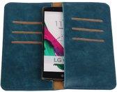 Blauw Pull-up Large Pu portemonnee wallet voor LG