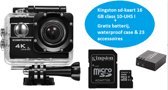 AT-45 HDR actioncamera 4K Ultra HD + 20 MP + Verstelbare lens+  Goodram SD-kaart 16 GB UHS I  + 23 accessoires en mounts + WIFI Phone Remote