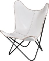FUJL Butterfly Chair -  Vlinderstoel - leder -  Wit