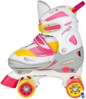 Rolschaatsen Rollerskates - Meisjes Verstelbaar - Roze / Geel / Wit - Semi-Softboot - Maat 30-33