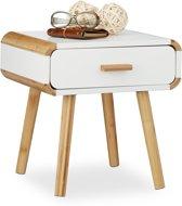Relaxdays - Scandinavisch nachtkastje met lade WIT - nachttafel wit - bijzettafel - hout