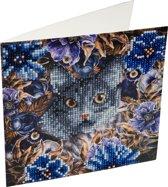 Diamond Painting Crystal Card Kit ® Kat & Bloemen - 18x18cm