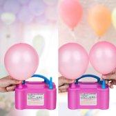 Elektrische Ballonnenpomp met Dubbel Vulfunctie - Draagbare Pomp met Bedienbare en Automatische Opblaastuiten - Snel Ballonnen Opblazen - 600W - Roze en Blauw