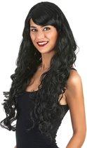Lange zwarte glamour pruik met krullen voor vrouwen - Verkleedpruik - One size