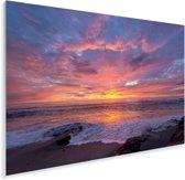 Een kleurrijke zonsondergang bij de zee Plexiglas 60x40 cm - Foto print op Glas (Plexiglas wanddecoratie)