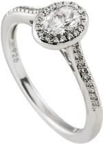 Diamonfire - Zilveren ring met steen Maat 17.5 - Ovaal - Rand met zirkonia - Pav' bezet
