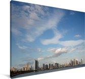 Blauwe lucht boven Panama Stad Canvas 180x120 cm - Foto print op Canvas schilderij (Wanddecoratie woonkamer / slaapkamer) XXL / Groot formaat!