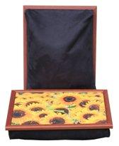 Margot Steel Laptray, Schootkussen, schoottafel, laptoptafel, dienblad met kussen Zonnebloemen in Veld - 41x31x10 cm