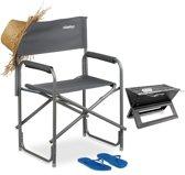 relaxdays - regisseursstoel met logo - tuinstoel - klapstoel, campingstoel breed - grijs
