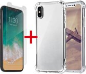 Apple iPhone XR Hoesje - Anti Shock Hybrid Backcover & Tempered Glass Combi - Transparant
