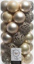 37x Licht parel/champagne kunststof kerstballen 6 cm - Mix - Onbreekbare plastic kerstballen - Kerstboomversiering licht parel