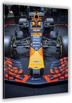 Dibond –Formule 1 Auto van Max Verstappen– 40x60cm Foto op Aluminium (Wanddecoratie van metaal)