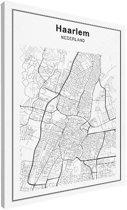 Stadskaart klein - Haarlem canvas 30x40 cm - Plattegrond