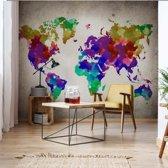 Fotobehang Watercolour World Map | VEXXL - 312cm x 219cm | 130gr/m2 Vlies