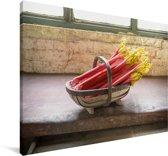 Roze rabarber in een mand Canvas 140x90 cm - Foto print op Canvas schilderij (Wanddecoratie woonkamer / slaapkamer)