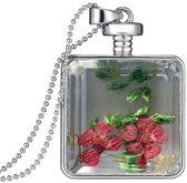 Fako Bijoux® - Ketting - Gedroogde Bloem - Vierkant - Zilverkleurig - Rood/Groen