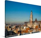 Uitzicht over de Franse stad Rijsel Canvas 180x120 cm - Foto print op Canvas schilderij (Wanddecoratie woonkamer / slaapkamer) / Europese steden Canvas Schilderijen XXL / Groot formaat!