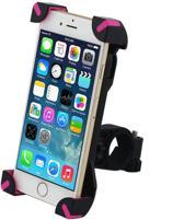 Merkloos telefoonhouder fiets - Universeel - tot 6 Inch - Zwart Roze