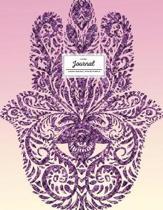 Lined Journal (Diary, Notebook). Hamsa Design. Pink & Purple