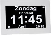 SBR Dementie-Klok / Digitale-Kalenderklok met Dagdeel + Alarmfunctie Wit 8 inch
