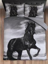 Cotton Club Dekbedovertrek Paard Zwart -  Lits Jumeaux - 240x200/220 cm + 2 kussenslopen 60 x 70 cm