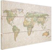 Vintage gekreukelde wereldkaart Hout 160x120 cm - Foto print op Hout (Wanddecoratie) XXL / Groot formaat!
