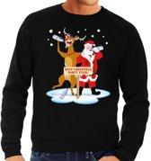 Foute kersttrui / sweater dronken kerstman en rendier Rudolf na kerstborrel/ feest zwart voor heren - Kersttruien L (52)