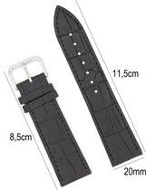 Horlogeband Leer 20mm - Croco Band + Push Pin - Zwart - Sarzor
