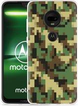 Moto G7 Plus Hoesje Pixel Camouflage Green