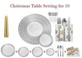 Deluxedisposables  -Luxe wegwerp eenmalig plastic tafel Serviesset voor 10 personen wit -zilver + Decorative set GRATIS !