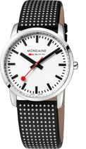 Mondaine Simple Elegant A400.30351.11SB0 - Horloge - Leer - Zwart - 36 mm