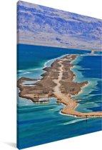 Luchtfoto van de dode Zee in het Midden-Oosten Canvas 20x30 cm - klein - Foto print op Canvas schilderij (Wanddecoratie woonkamer / slaapkamer)