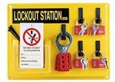 Lockout-Station, type 2, 4 sleutels, 10 onderhoud-hangetiketten, 360 x 520 x 65 mm