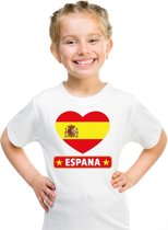 Spanje kinder t-shirt met Spaanse vlag in hart wit jongens en meisjes S (122-128)