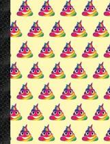 My Super Cute Yellow Rainbow Unicorn Poop Emoji 4x4 Quad Graph Paper Notebook