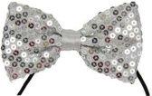 Zilver vlinderstrikje met pailletten