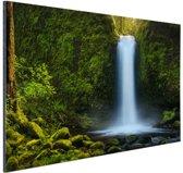 Jungle waterval Aluminium 60x40 cm - Foto print op Aluminium (metaal wanddecoratie)