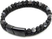 Armband heren – dubbel snoer – zwart gevlochten leer rond - zwart lavasteen kralen - Sorprese -zwart RVS sluiting - magnetisch – 22 cm - model O