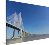 Uitzicht op een witte hangbrug met een blauwe hemel Canvas 180x120 cm - Foto print op Canvas schilderij (Wanddecoratie woonkamer / slaapkamer) XXL / Groot formaat!