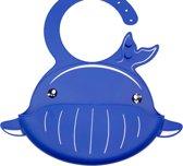 Siliconen Slabbetjes - 2 Stuks - Duo Pack - Blauw & Oranje - Slabber - Waterdichte Baby Slabbetjes - Slabben - Zachte Slab met Opvangbakje - Oprolbaar - Jongens - Kraamcadeautje