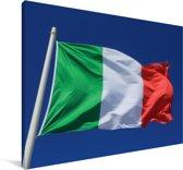 Italiaanse vlag wappert in de blauwe lucht Canvas 60x40 cm - Foto print op Canvas schilderij (Wanddecoratie woonkamer / slaapkamer)
