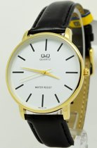 Q&Q mooi polshorloge Q854J101Y met zwart leren band en goudkleurig horlogekast