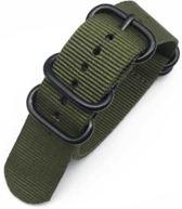 Premium Olive Green - Zulu Nato strap 22mm - Horlogeband Olijf Groen + Luxe pouch