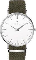 Wallace Hume Klassiek Wit - Horloge - Perlon - Leger Groen