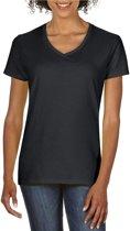Basic V-hals t-shirt zwart voor dames - Casual shirts - Dameskleding t-shirt zwart XL (42/54)