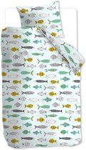 Beddinghouse Kids Fishy Dekbedovertrek - Mint Groen 140x200/220