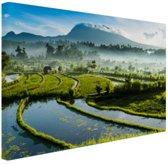 Zonsopkomst rijstveld Tirtagangga Bali Canvas 80x60 cm - Foto print op Canvas schilderij (Wanddecoratie woonkamer / slaapkamer)