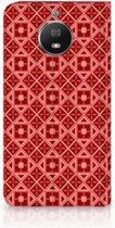 Motorola Moto G5S Uniek Standcase Hoesje Batik Red